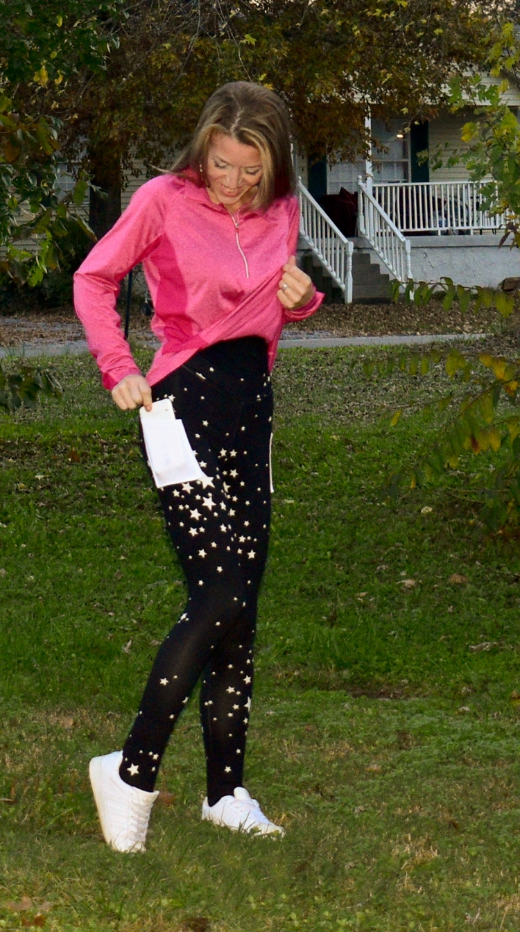 april simpson hunt of mermaid mama designs wearing the new urban leggings pattern from ellie and mac patterns. Stars fabric is a double brushed polyester fabric from aurora design fabrics